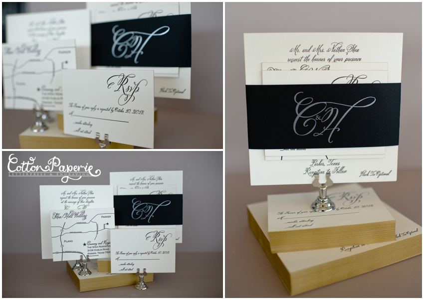cottonpaperie letterpress wedding invitations with black belleyband with pearl foil