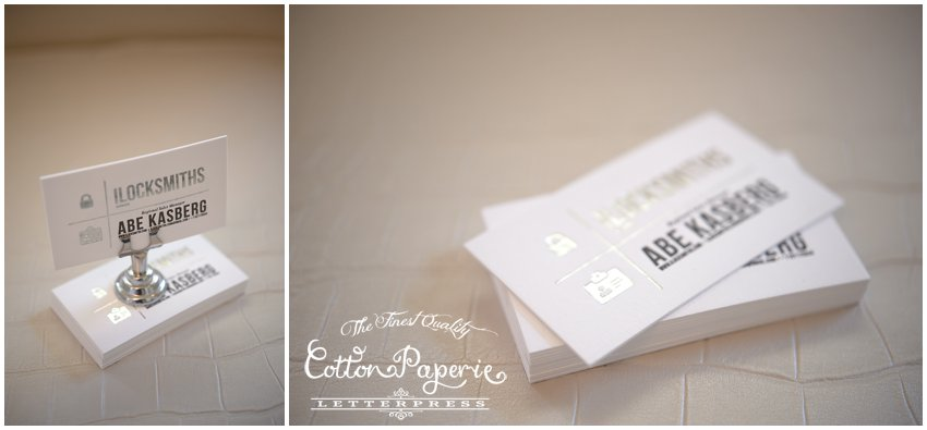 silver foil cottonpaperie letterpress business cards