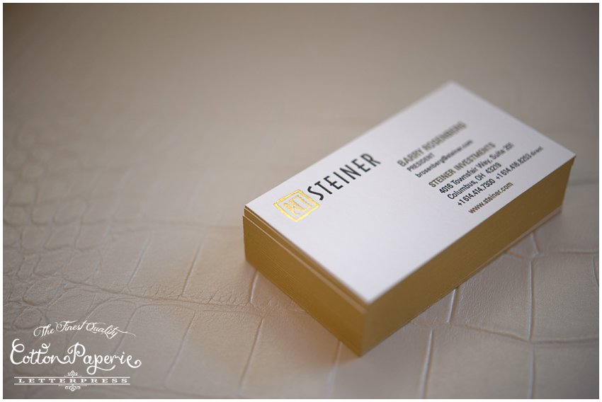 gold foil cottonpaperie letterpress business cards